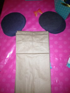 Paper bag and construction paper circles (aka mouse ears) ready for assembly.