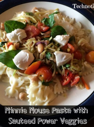 Minnie Mouse Pasta with Sauteed Power Veggies