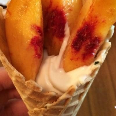 Summer Games Inspired Waffle Torch-a healthy Peach & Yogurt Snack