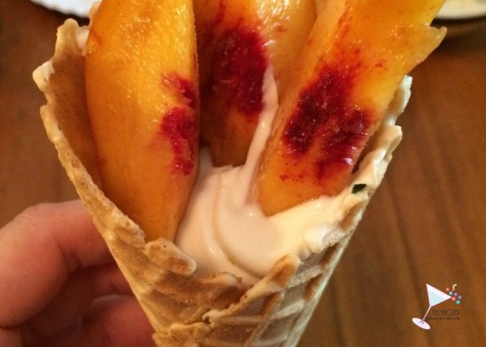 Summer Games Inspired Waffle Torch-a healthy Peach & Yogurt Snack