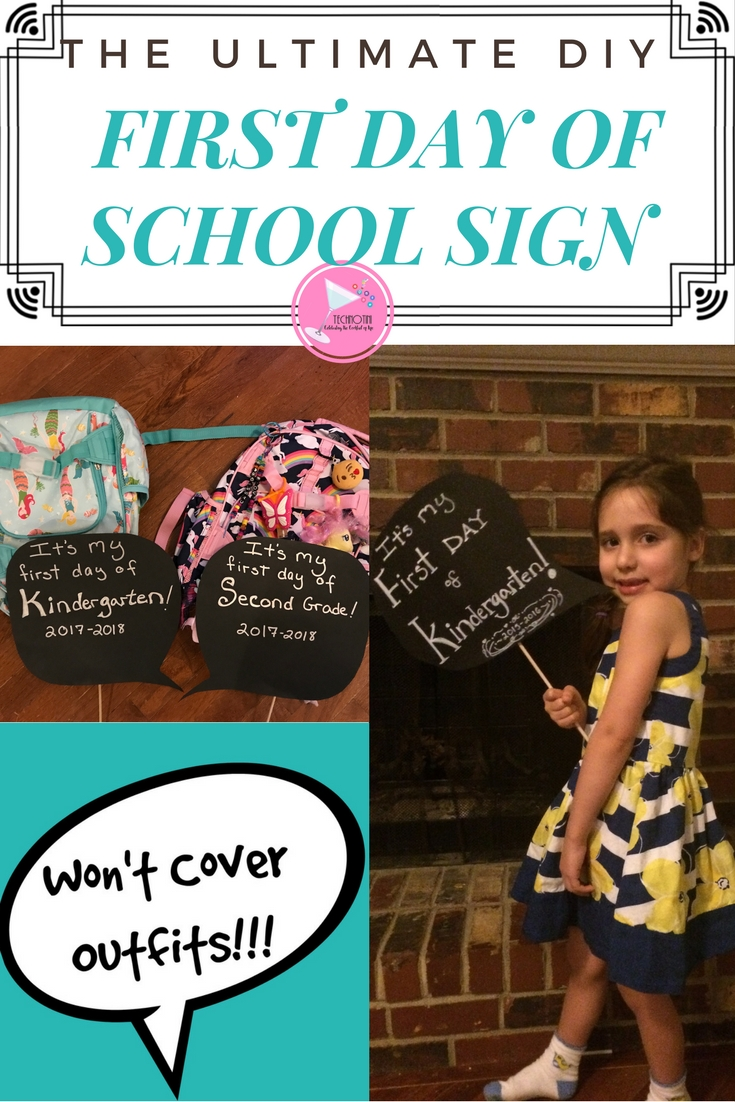 Learn how to make the Ultimate DIY First Day of School Sign that won't block your child's outfit. This easy DIY craft can be done in under about 10 minutes. Includes tips and tricks to make this Back To School Sign project even easier. Bonus: use this same template for a Kids Photo booth speech bubble sign.