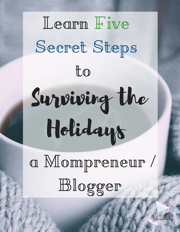 I've finally discovered the secret to holiday survival for mompreneurs and bloggers. In five simple steps, I explain how to determine 5 focus areas and reclaim balance and joy. My favorite tip is Step #3—total life changer! Organization | time management | holiday stress | stress-free holidays