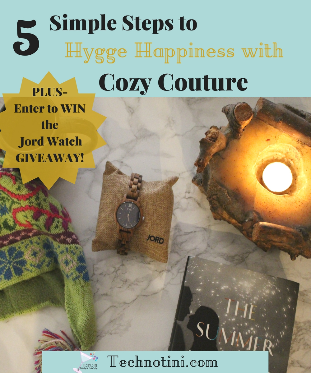 Hygge style, the Danish concept for comfy, cozy happiness is very popular right now. Read my five simple steps to incorporate this laid back happiness for home, life, and style, including a special review of my Jord Wood Womens' Watch. It's perfect for the busy mom on the go and transitions nicely from day to night style-perfect Hygge Cozy Couture. Bonus: enter the Jord Watch Giveaway and grab a $25 off Coupon!