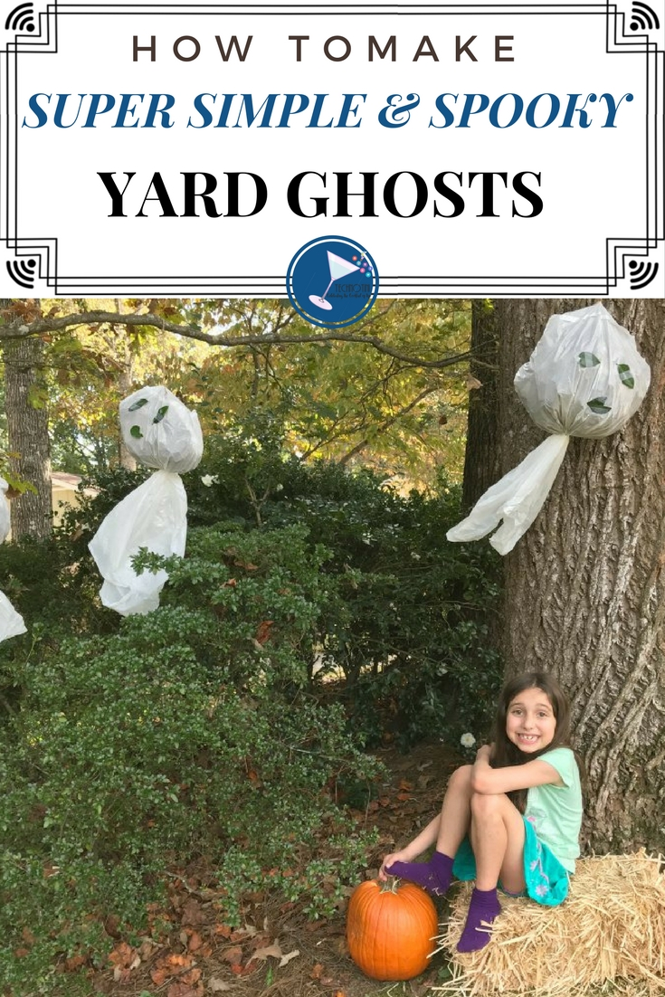 These super simple and spooky DIY Halloween Yard Ghosts were inspired by the kind my sister and I made growing up.  They're fun and easy and only require a few simple supplies.  Bonus-Your kids help clean up the leaves while making them!