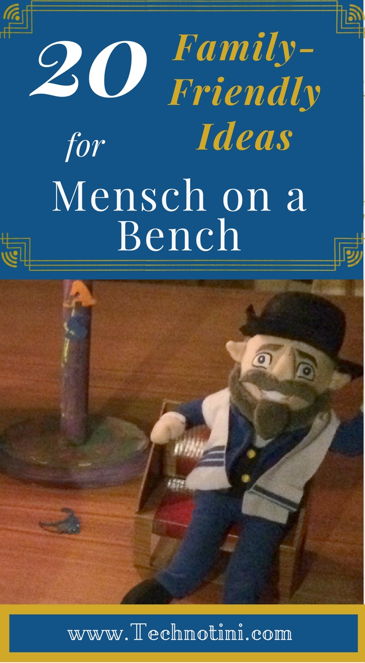 This list of 20 family-friendly Mensch on a Bench ideas will help you get your creative Hanukkah juices flowing with G-rated ideas that your kids will love. My fave is number 9--ridiculously easy and great on a Hanukkah Shabbat.