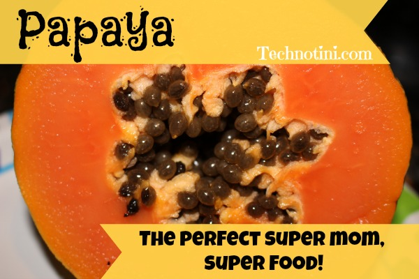 """Did you know that Papaya is a SUPER FOOD and is packed with MOM-FRIENDLY antioxidants that help your SKIN STAY LOOKING YOUNG and FIRM?  Umm yeah. It's true! Read more here +bonus feature:  EDUCATION EXTENSION For KIDS """"Explore the Papaya Seeds"""" inside.  Your kids will love this fun, super sweet + super healthy + kid-approved fruit."""