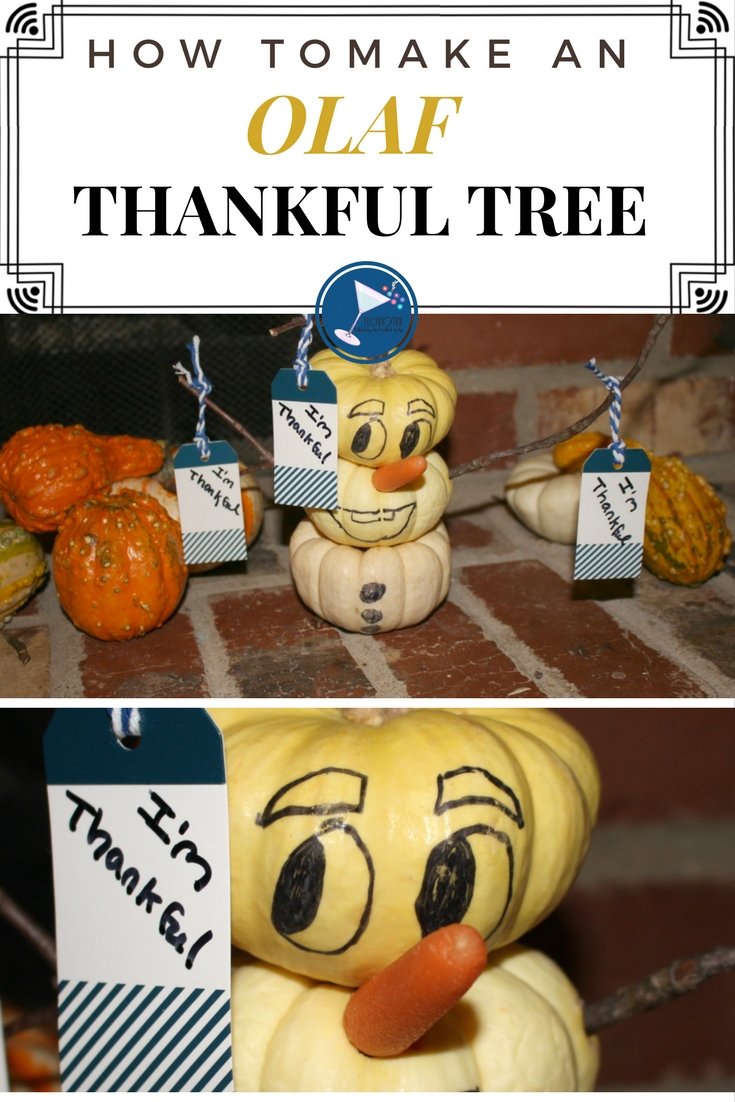 Show your #DisneySide and create a fun, festive, thankful tree featuring Olaf from Frozen! This is an easy DIY Craft that simply uses white pumpkins and a few items that you probably already have around the house. My kids love giving their thankful tags to Olaf to hold. I bet yours will too! This post also includes tips on creating thankful conversations to help kids understand gratitude.