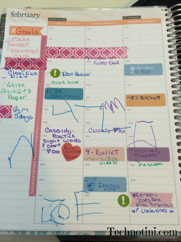 A snapshot of my planner. My younger daughter helped by scribbling in it.
