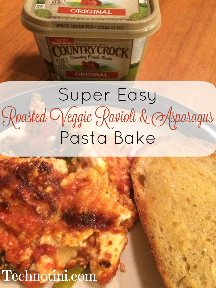 This super easy roasted veggie filled ravioli and asparagus and spinach pasta bake recipe is quick to make and will have your family asking for more. This post also includes a recipe for easy sourdough garlic bread with great tip saving tips! Enjoy!