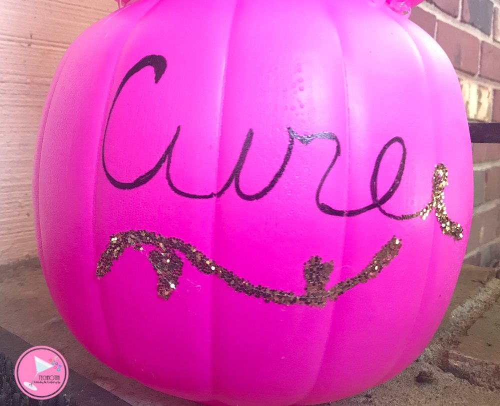 This DIY Pink Pumpkin Topiary is a fun and easy way to show off your support for Breast Cancer Awareness Month in your front porch decor. You can decorate it with a Pink Ribbon or inspirational words and best of all this easy #ThinkPInk craft won't break the bank.