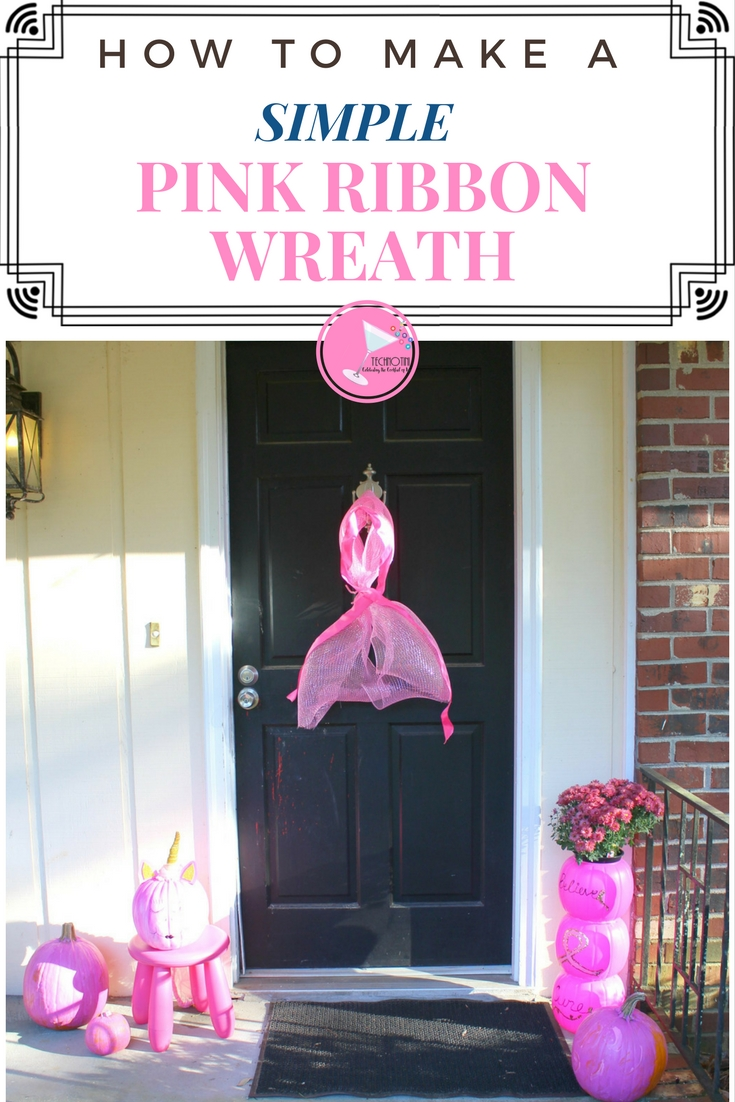This simple pink ribbon wreath is perfect for your front door, front porch décor during breast cancer awareness month or a great addition to a breast cancer awareness event.  Think Pink and believe in a cure!