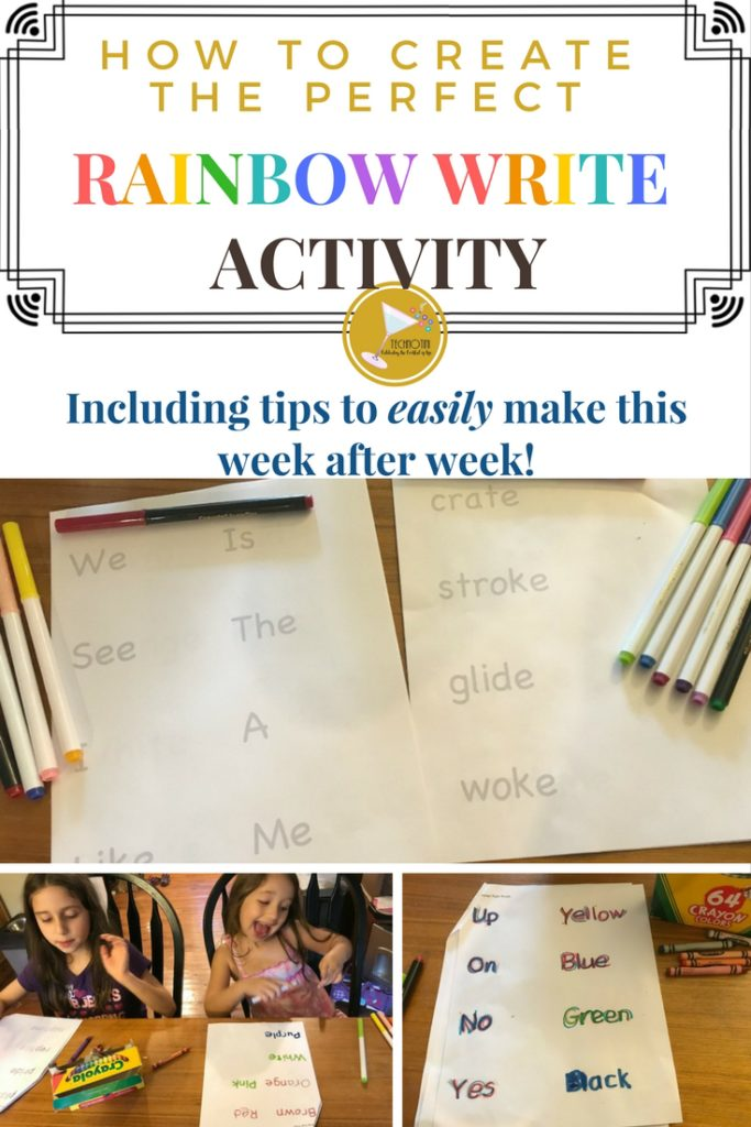 These tips and tricks will help you easily create the perfect Rainbow Write Activity that your kids can do every day. They'll love how practicing their sight words or spelling words is more like coloring than homework and you'll love how easy it is to put together week after week.