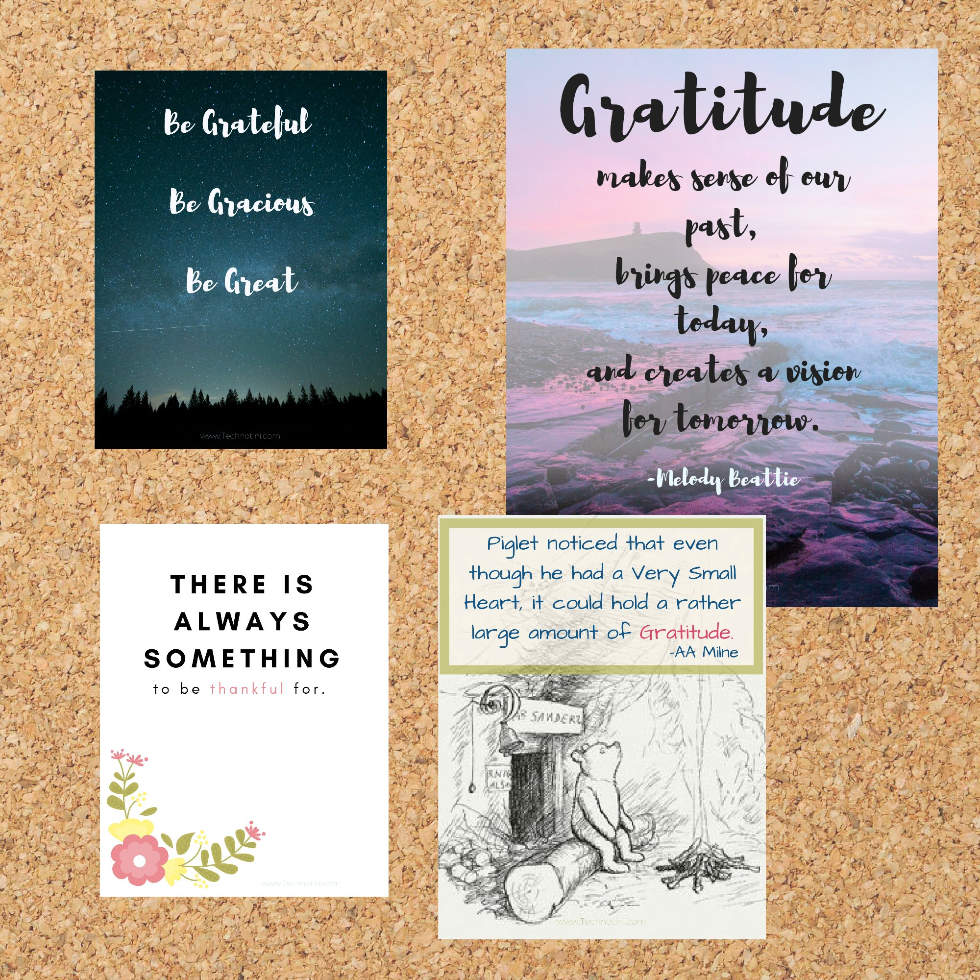 These four gratitude printables are perfect for Thanksgiving as well as everyday inspiration. From Visualization inspiration to Winnie the Pooh, there's something for everyone.  Hang them by your desk or frame them.