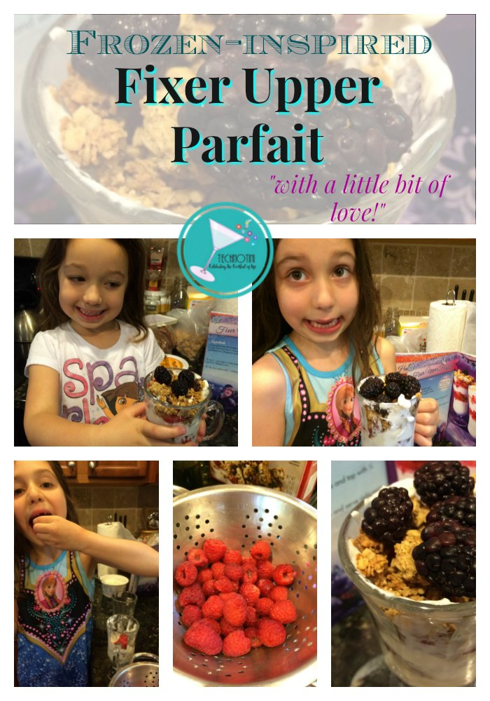 This Frozen-inspired yogurt parfait is packed with protein and nutrients. Great for breakfast or after school snacks, this kid-friendly healthy food will have your little Frozen fans singing for more. #DisneySnacks, #backtoschoolsnacks #Yogurtparfait