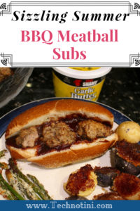 This Sizzling Summer BBQ Meatball Sub recipe is perfect for perfect for 4th of July cookouts, BBQ's or picnics. It's easy, kid-friendly, and uses a secret ingredient of #chefShamy garlic parmesan butter. ##sponsored #4thofJulyRecipes, #meatballs #meatballsub #easyrecipes #cookoutweek