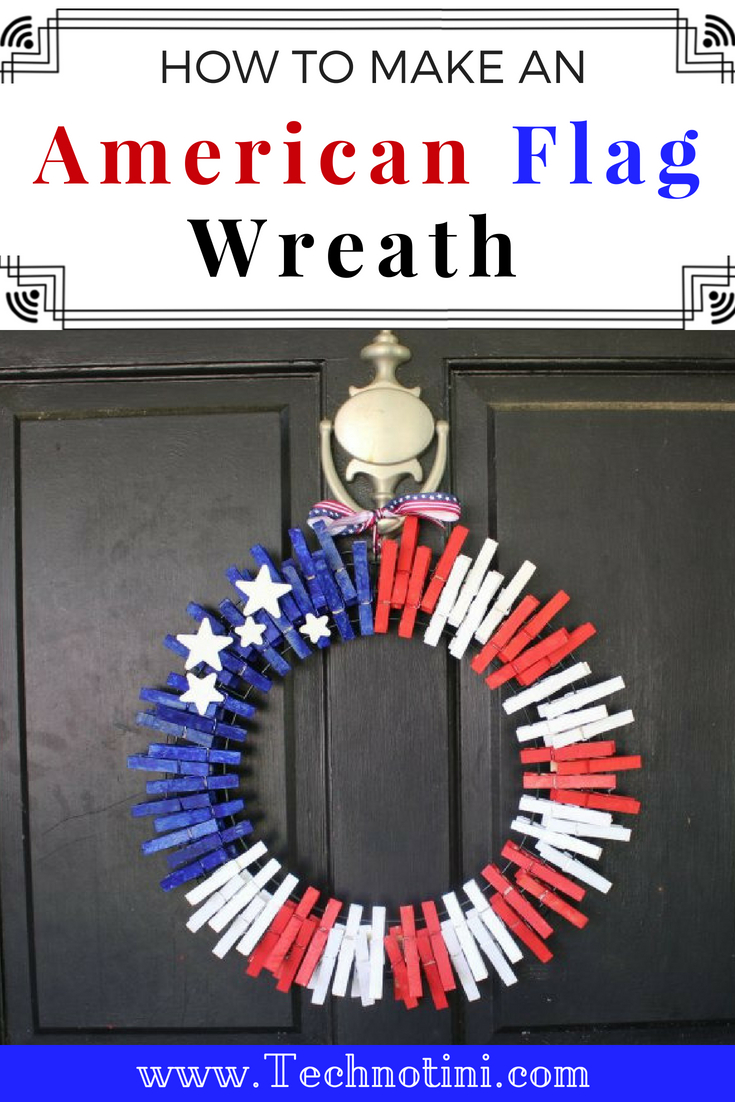 This simple no-glue American Flag wreath is the perfect summer craft and will brighten up your front door for 4th of July. I've included an important How To that will keep the clothespins in place without using a single drop of glue! #4thofJulyDecor #summerwreath #4thofJulyDIY Patriotic Wreath, American Flag Wreath, clothespin wreath, Clothespin wreath DIY, Clothespin wreath summer, clothespin wreath 4th of July