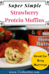 This yummy strawberry protein muffin recipe is super simple to make and packed with extra protein to give kids (and parents) energy they need to get through a busy morning. Check out my tips and tricks that make this recipe super easy. #sponsored #strawberrymuffins #easyrecipes