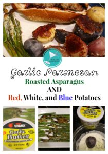These festive and flavorful Garlic Parmesan Roasted Asparagus AND Red, White, and Blue Potatoes are perfect for 4th of July cookouts, BBQ's or picnics. This easy, kid-friendly recipe is sure to be a hit with the whole family. #4thofJulyRecipes, #roastedveggies #roastedvegetables #easyrecipes
