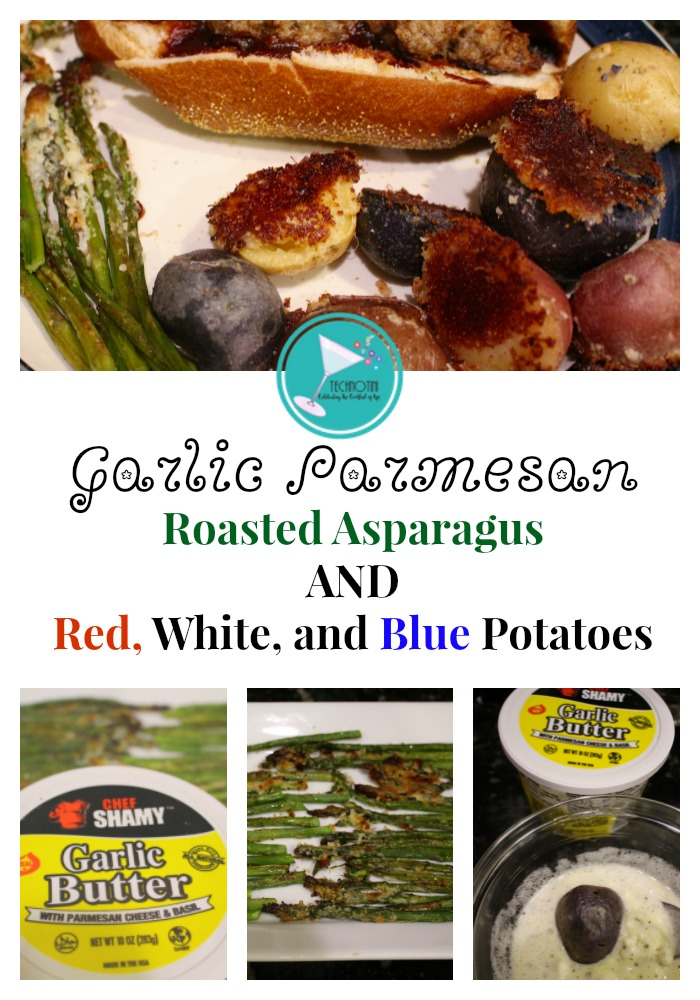 These festive and flavorful Garlic Parmesan Roasted Asparagus AND Red, White, and Blue Potatoes are perfect for 4th of July cookouts, BBQ's or picnics.  This easy, kid-friendly recipe is sure to be a hit with the whole family.#sponsored #4thofJulyRecipes, #roastedveggies #roastedvegetables #easyrecipes