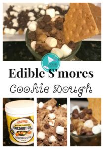 This easy to make, edible s'mores cookie dough is a fun, festive treat perfect for summer. Using Barlean's Butter Flavored Coconut Oil, gives it an indulgent richness that's also healthy. Your family will love it. #smoresideas #smores #easydessertrecipes #Sponsored