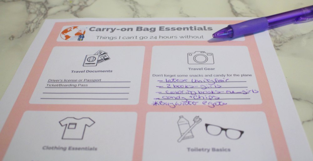 Picture of the Carry-on Printable to help avoid anxiety when flying.